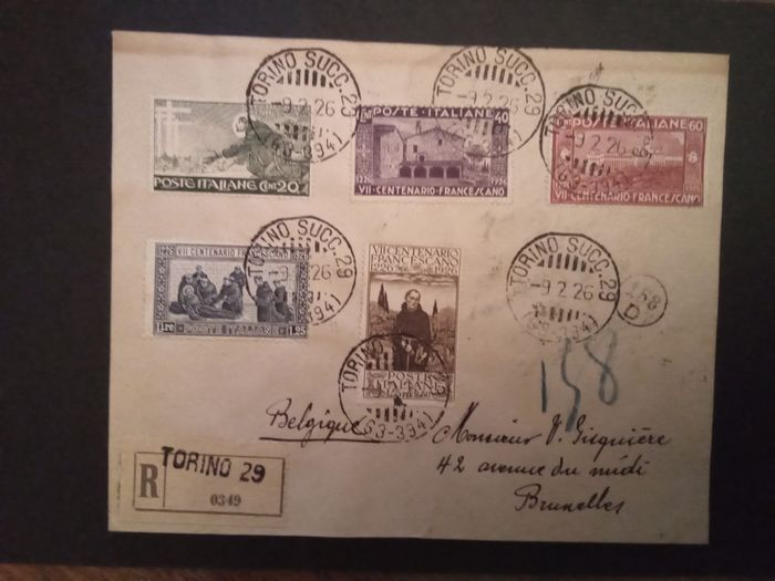Italie Regno - S. Francesco series values on registered letter from Turin to Brussels