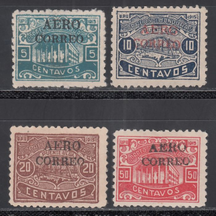 Honduras 1925 - different stamps with airmail overprints - Yvert 1, 2, 3, 7,