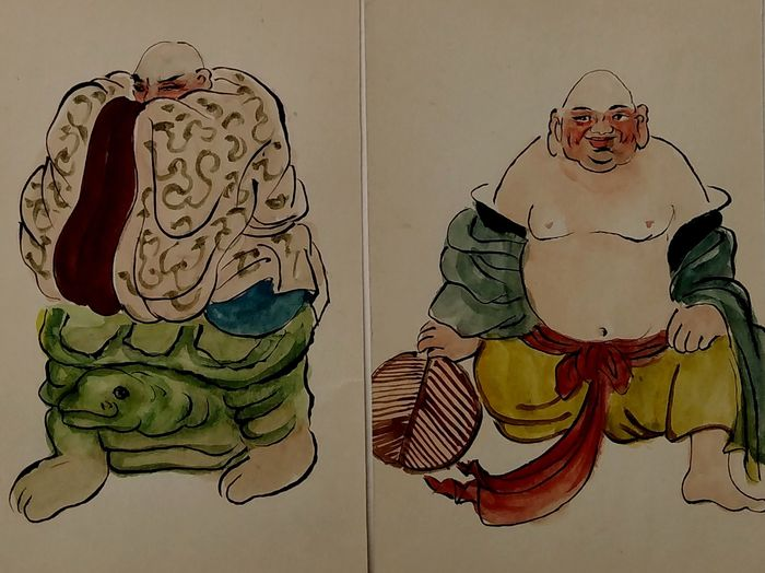 Pinturas (18) - Papel - Collection of 18 painted Chinese mythology scenes - China - mediados del siglo XX