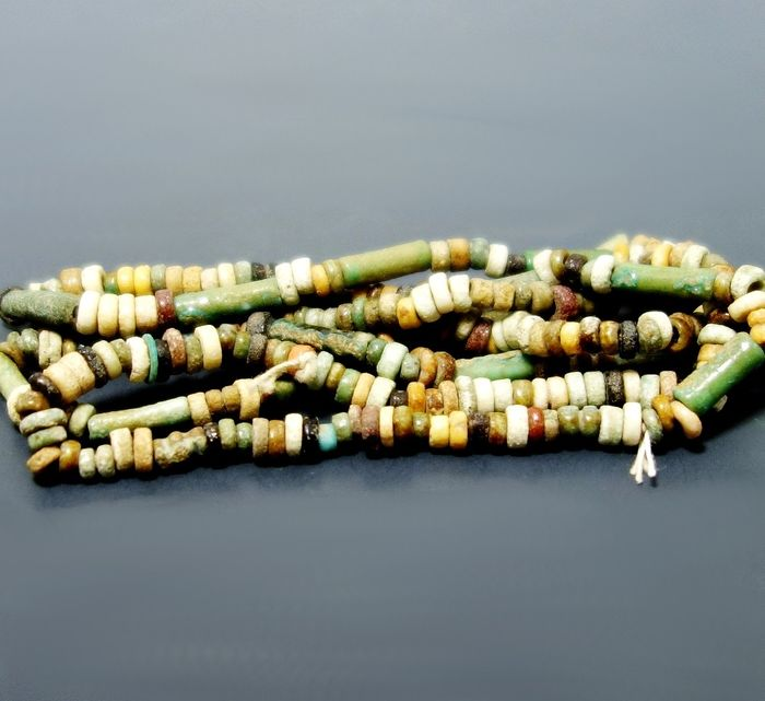 Ancient Egyptian Faience & Hardstone Beads - 620mm length approx