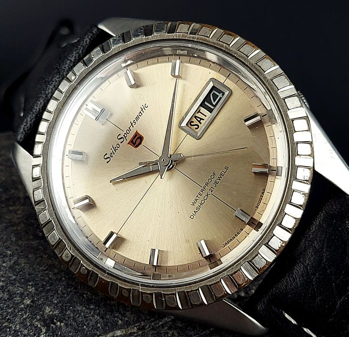 """Seiko - """"NO RESERVE PRICE"""" 5 Sportsmatic """"Fluted Bezel"""" - 6619-9000 - Homme - 1960-1969"""