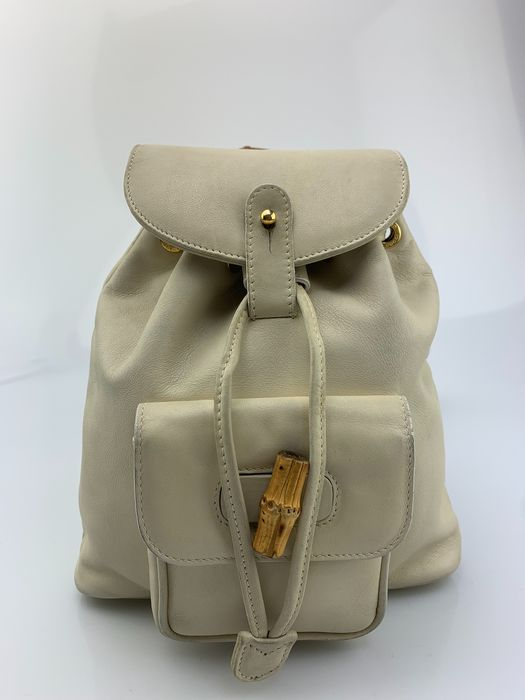 Gucci - Bamboo handle-Off White leather Backpack