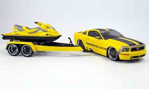 Norev - 1:18 - Mustang + Jet Ski Cesam By Parotech - Color yellow