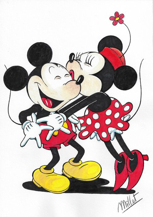Mickey & Minnie Mouse - Millet - Original Drawing