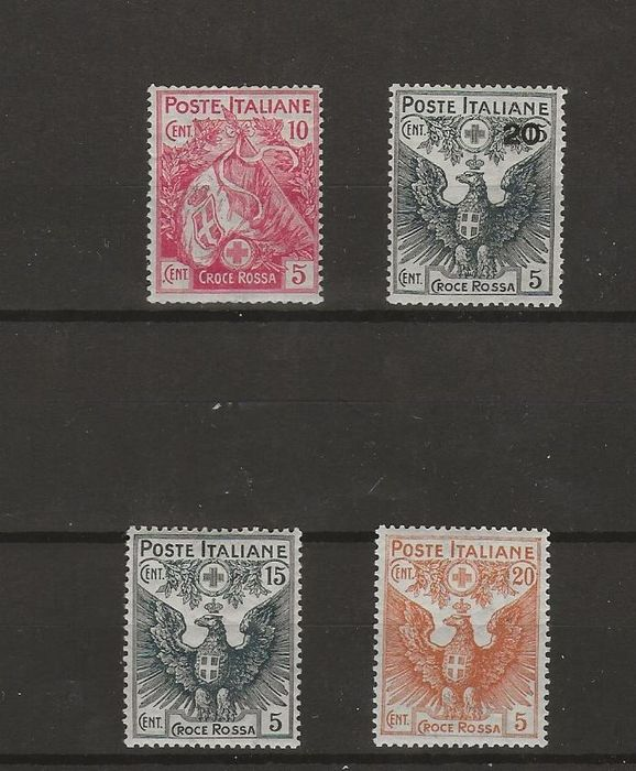 Royaume d'Italie 1895/1915 - Red Cross set of 4 values and 20 cents orange, 10 single pieces, 2 pairs and 2 blocks of three - Sassone NN. 61 e 102/105