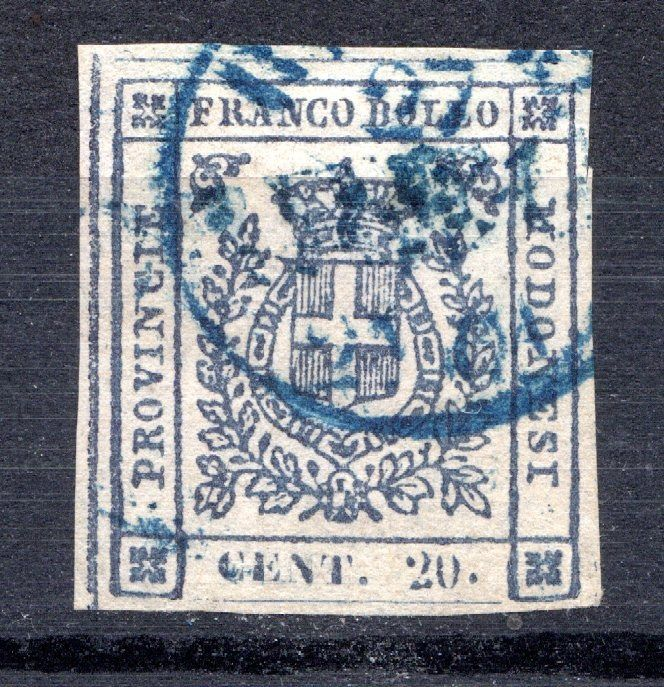 Anciens états italiens - Modène 1859 - Provisional Government, 20 cents slate used - Sassone N. 15