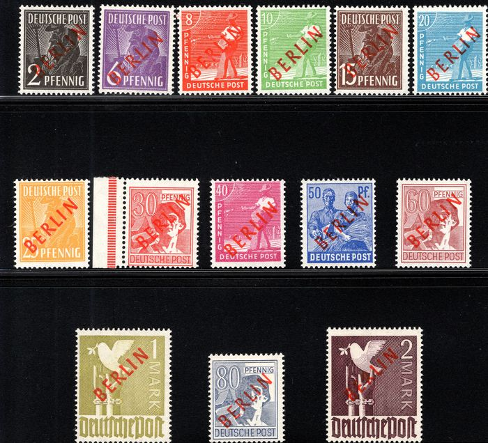 Berlin 1949 - Red overprints - Michel Nrs. 21 / 34