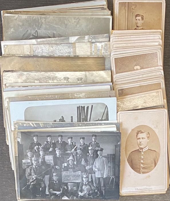 Germany 1st World War - 104 field post cards and 28 original studio photos from around 1910