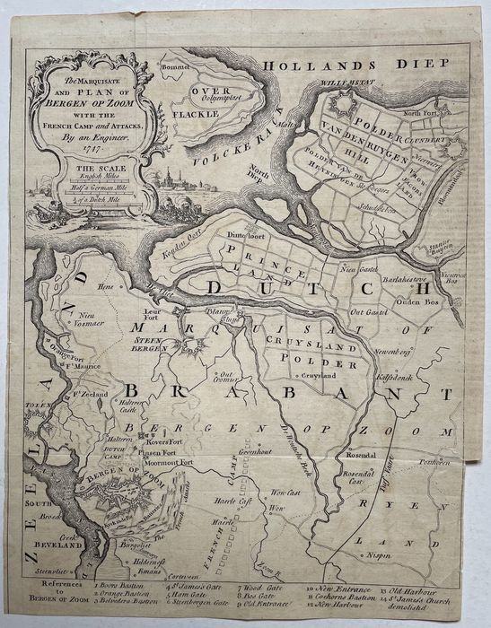 Holanda, Bergen op Zoom, Steenbergen, Willemstad; 'an Engineer' - The Marquisate and Plan of Bergen Op Zoom with the  French Camp and Attacks - 1747 - 1721-1750