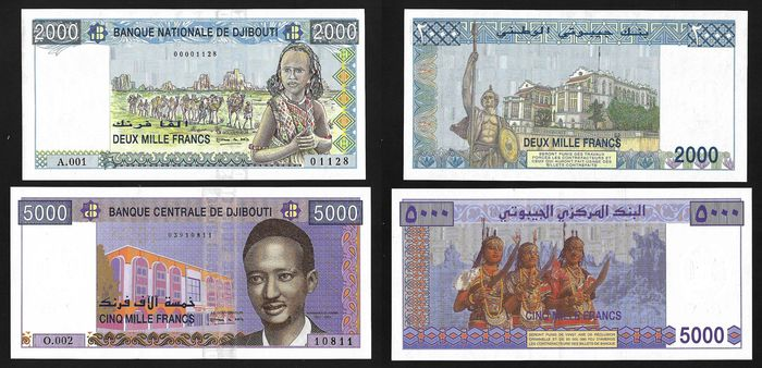 Djibouti - 2000 and 5000 Francs ND (1997-2002) - Pick 40 and 44