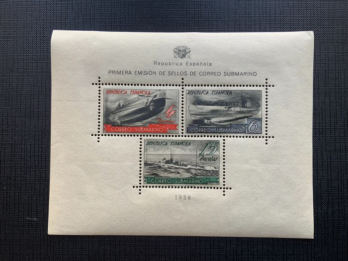 Spanje 1938 - Submarine post miniature sheet - Edifil 781