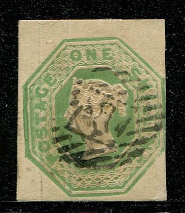 Great Britain 1847 - 1 shilling green Embossed large stamp - Stanley Gibbons 55