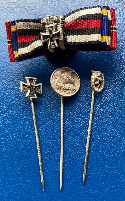 Germany - executed in 1957 - Iron Cross, Wound Badge, HIAG Warrior Association - 3 miniature needles and a buttonhole ribbon clip