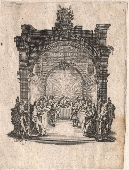 Jacques Callot (1592-1632) - The Last Supper  - Rare first state before the number