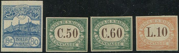 Saint-Marin - Views  80 c. + Postage-due stamps 50 c., 60 c. and L. 10. Four interesting proofs