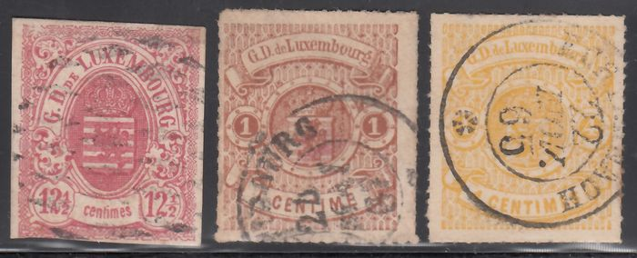 Lussemburgo 1859/1880 - Coat of arms of Luxembourg, Different values, - Yvert 7, 12, 14,