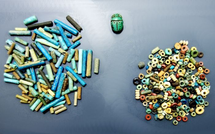 Selection of 300 Egyptian Faience Beads + 19th Century Grand Tour Scarab - 2mm to 17mm