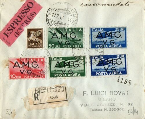 """Triest - Venezia Giulia 1947 - Democratic airmail """"AMG-VG"""" on express registered mail to Milan"""