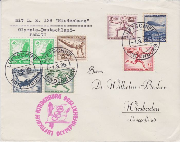 Duitse Rijk 1936 - Zeppelin letter Olympiafahrt- Germany flight