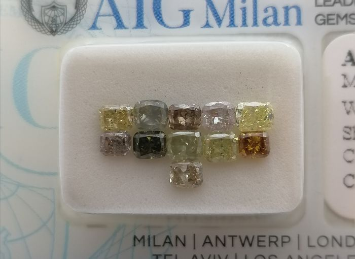 11 pcs Diamanti - 2.03 ct - Cuscino - Colorless to fancy mix yellow - brown - ***no reserve price**vs2, si1, si2 3.03-2.96mm