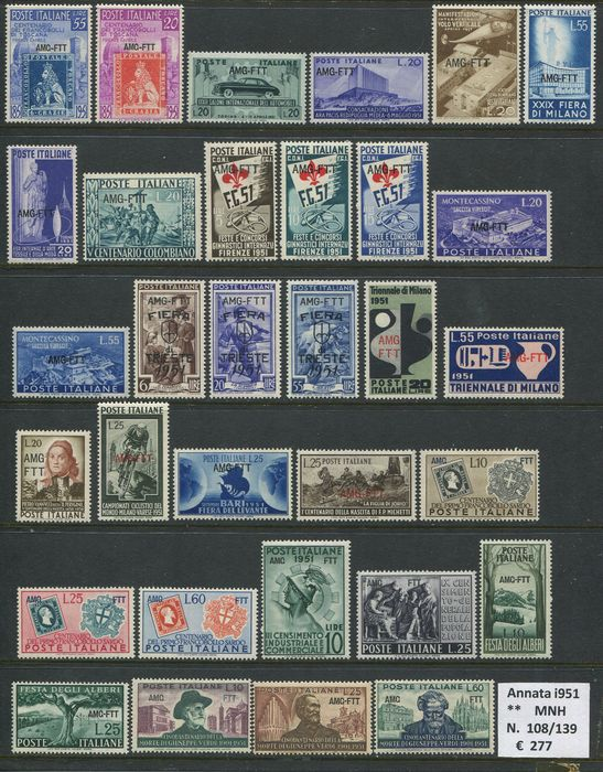 Triest - Zone A 1951/1954 - Full years of regular mail of the period - 101 different stamps - Sassone NN. 108/208