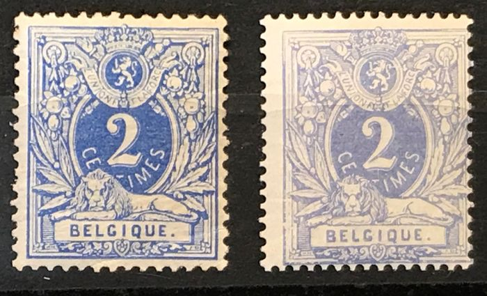 Belgien 1869 - Lying lion 2c in two nuances and perforations - OBP / COB 27-27A
