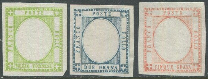 Provinces napolitaines - Half tornese, 2 and 5 grana. Proofs without effigy in the chosen colour. - CEI NN. P22, P25, P26,