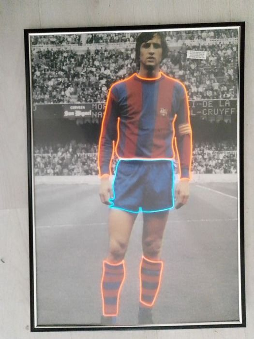 FC Barcelona - Champions Football League - Johan Cruijff - Decorative object, With red and blue Neon