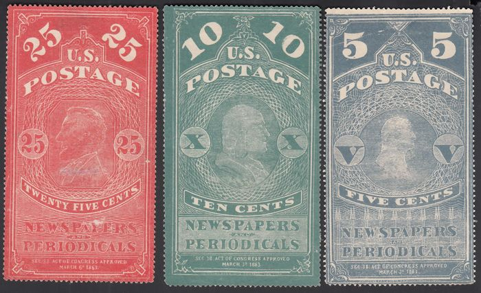 United States of America 1865 - Newspaper stamps, 5¢ blue, 10¢ green, 25¢ carmine red - Yvert 2, 3, 4,