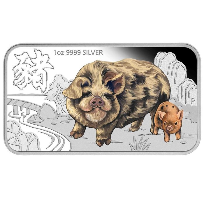 Tuvalu. 1 Dollar 2019 Proof Year of The Pig - 1 Oz