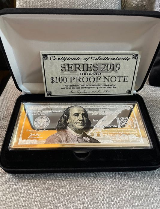 USA. 100 Dollars 2019 medal Banknote with color printing - 4 Oz