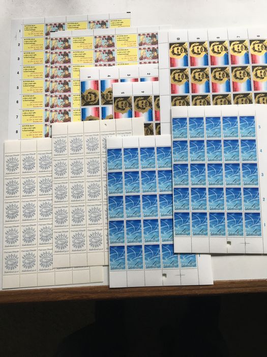 Niederlande 1979/1980 - Selection of nine sheets with fifty stamps - NVPH 1172 (2x), 1174 (3x), 1201 (2x), LP16 (2x)