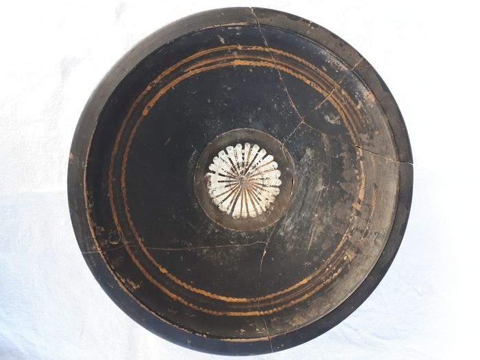 Ancient Greek Ceramic Apulian Bowl with Floral Pattern in Tondo - 5×24×24 cm - (1)