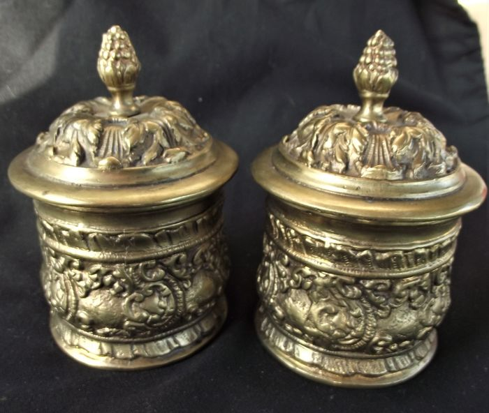 jars with lids (2) - Bronze - Early 20th century