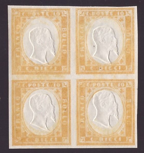 Italienische antike Staaten - Sardinien 1863 - 10 cents bistre 4th issue, block of four with gum on the front - Sassone N. 14E varietà