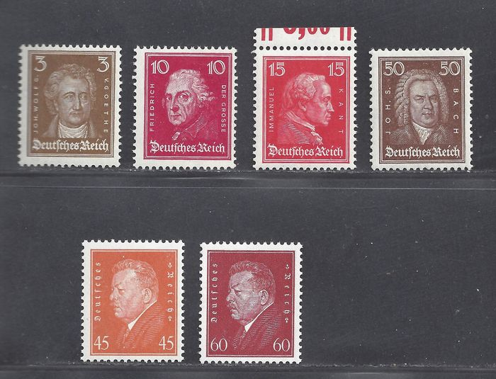 German Empire 1926/1928 - Famous Germans and National Presidents - Michel 385, 390, 391, 396, 419, 421