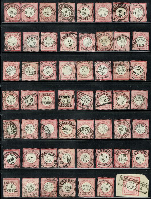 German Empire - 1872, 55 Stamps of 1 Gr carmine and red carmine, cancelled. - Michel 19
