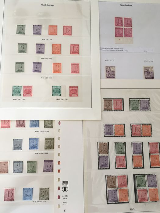 Occupation alliée - Allemagne (zone soviétique) 1945/1946 - Western Saxony, collection of stamps, different perforations, rubbers, colours and combinations