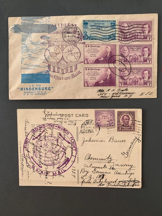 United States of America - 2 US Zeppelin proof of authenticity 1929+1936 World Tour + 1. NAF