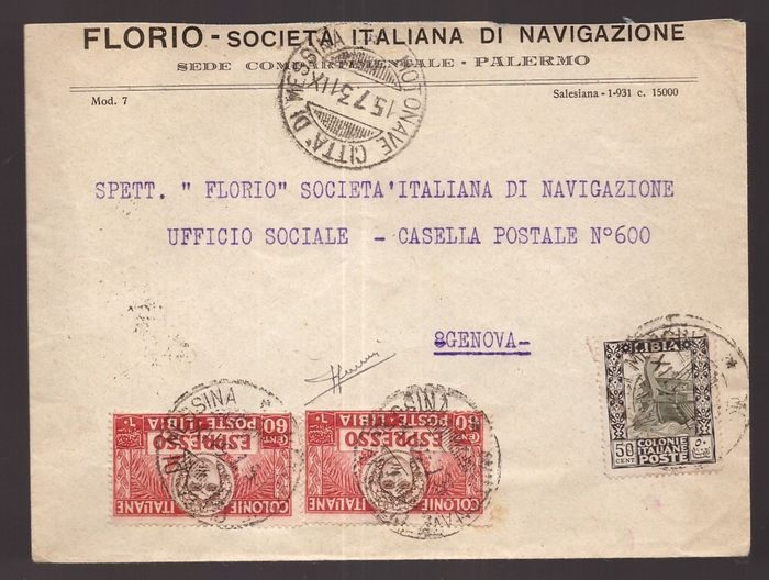 """Libye italienne 1931 - Express cover with mail steamer cancellation """"Città di Messina"""" - Sassone NN. 51, E.7"""