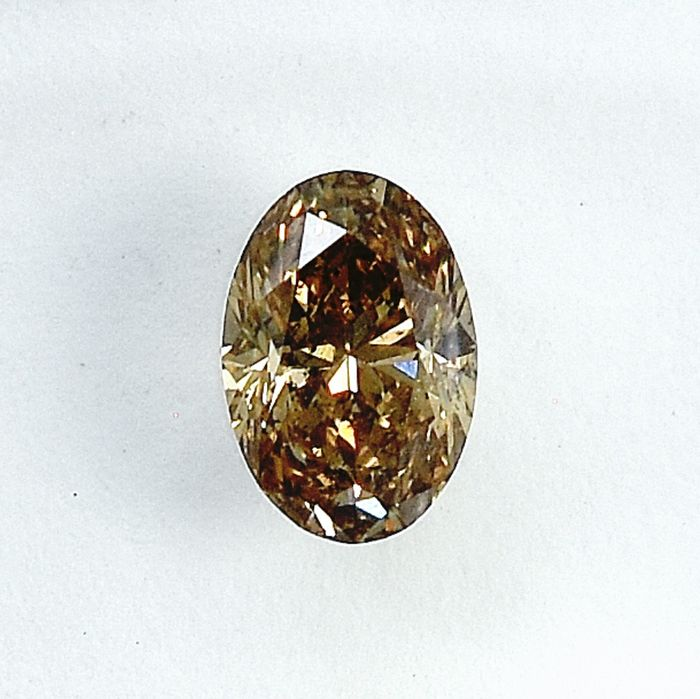 Diamante - 0.49 ct - Ovale - Natural Fancy Brownish Yellow - I1 - NO RESERVE PRICE