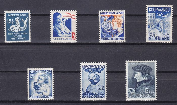 Niederlande 1928/1936 - Selection of blue stamps
