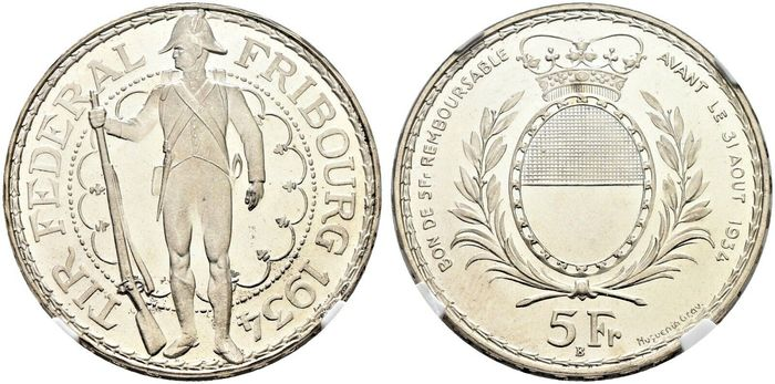 Zwitserland. 5 Francs 1934-B For the Federal Shooting Festival held in Fribourg.
