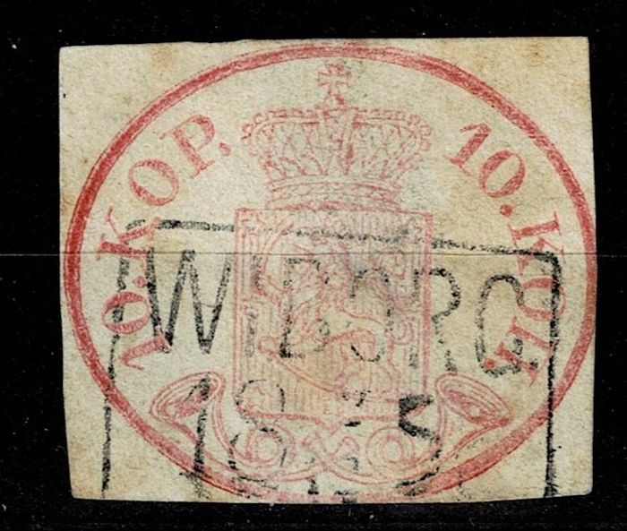 Finnland 1856 - Coat of arms 10 K carmine ordinary paper from Wiborg, used and signed - Michel 2x