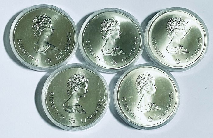 Canada. 10 Dollars 1973 'Olympic Games Montreal 1976' (5 pieces)