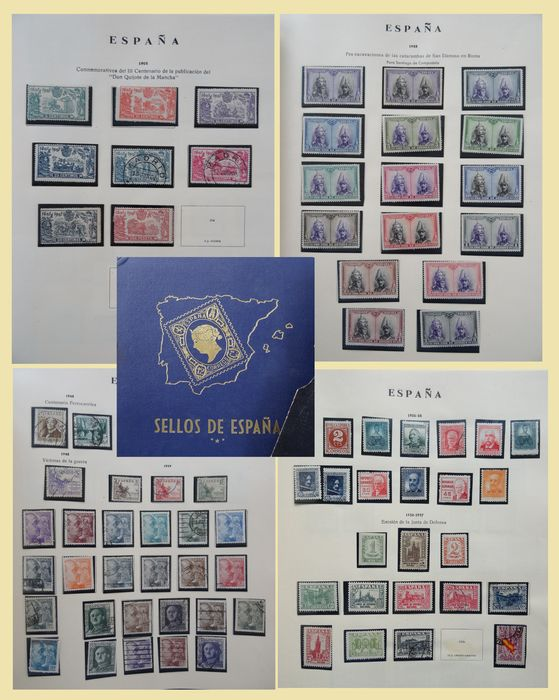 Spanien 1905/1950 - Collection on old album sheets in album.