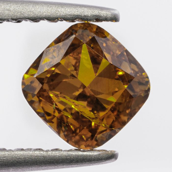 Diamant - 0.99 ct - Cushion - Natural Fancy Intense Orangy Yellow - I1 - NO RESERVE PRICE