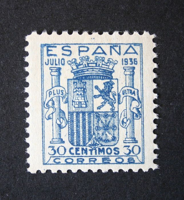Spanje 1936 - Coat of arms of Spain. Granada issue. Well centred. CEM certificate. - Edifil 801