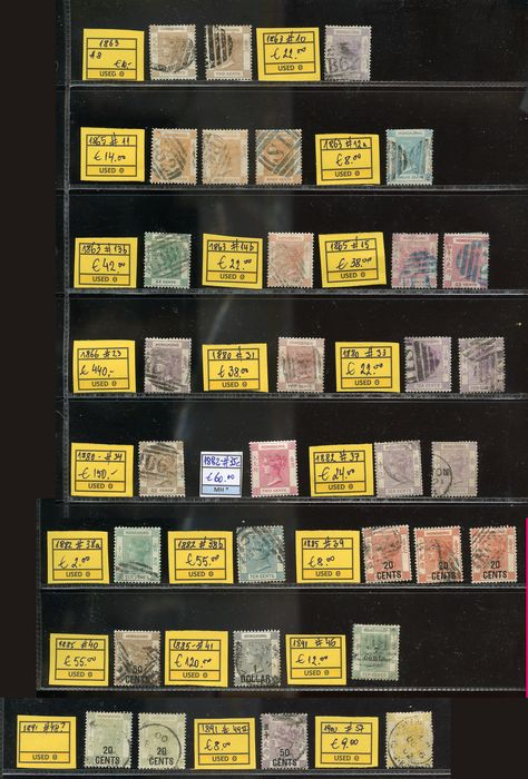 Hong Kong 1863/1900 - selection Queen Victoria stamps