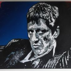 Scarface - Al Pacino is Tony Montana - Dipinto, Opera d'arte Original by Dutch Artist Vincent Mink - Acrylic on canvas, on frame (80x60 cm)